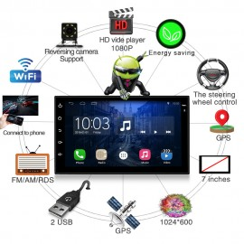 VW Nissan Toyota Volkswagen Peugeot için 7 inch Universal Android 6.1 GPS Navigasyon Araba DVD Player - 2 DIN, Wifi, Bluetooth