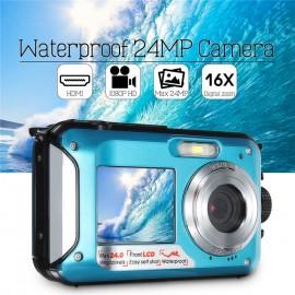 24MP 1080P 2.7 inch LCD Su Geçirmez Sualtı Dijital Kamera - Çift Ekran, 16X Dijital ZOOM