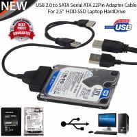"""2.5"""" HDD SSD için Çift USB 2.0 to 2.5inch 7+15Pin SATA Erkek Dönüştürücü Adaptör"""