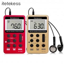 Retekess V-112 Taşınabilir AM / FM Stereo Radyo - Cep 2 Band Dijital Tuning Radyo