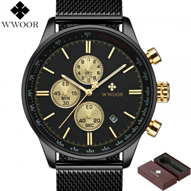 WWOOR Luxury Lüks Chronograph Sport Erkek Kol Saati - Su Geçirmez, Quartz, Paslanmaz Çelik, Hasır Kordon