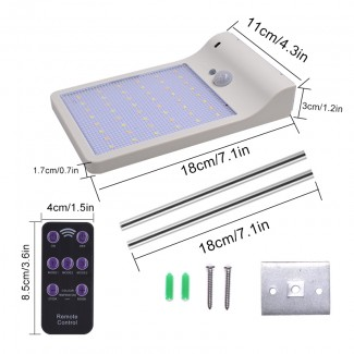 2000 mAh 48 LED Güneş Enerjili Ayarlanabilir Renkli Su Gerçirmez Bahçe Sokak Duvar Işık Lamba