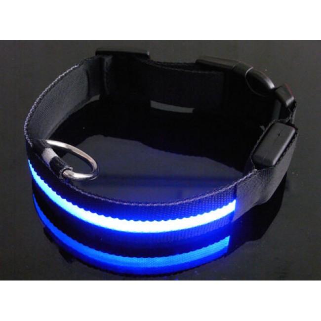 Su Geçirmez Işıklı LED PET Köpek Tasması - Mavi