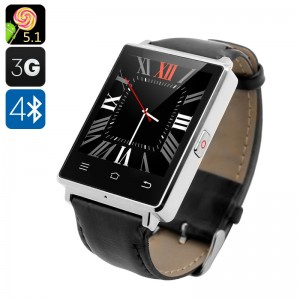 D6 Android 5.1 Bluetooth 4.0 Wi-Fi GPS 3G Smart Kol Saati Telefon - Klasik ve Spor, Pedometre, Barometre, Nabız Ölçer,  Facebook, Twitter