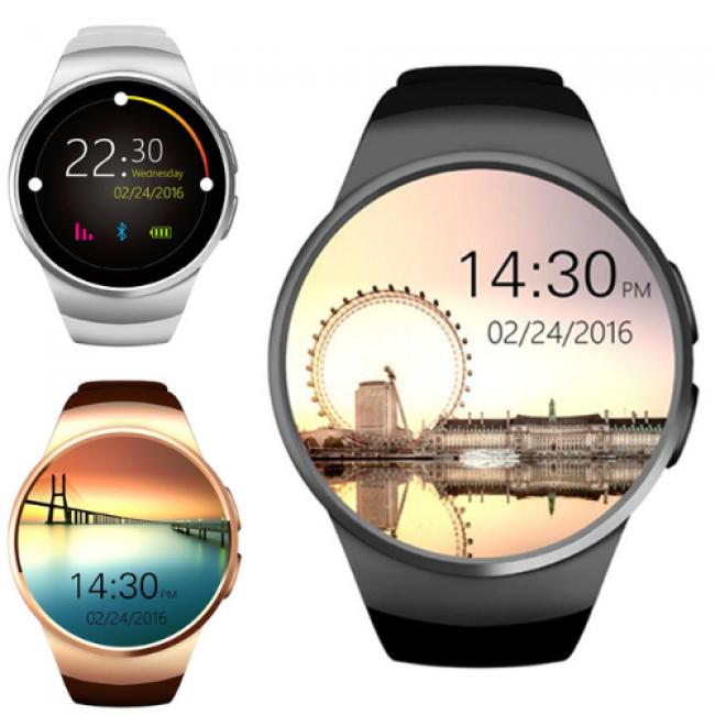 Wear KM18 1.3 inch Yuvarlak IPS Ekran Smartwatch Akıllı Kol Saati Telefon - SIM Kart, Adım Sayar, Nabız Ölçer, BT 4.0