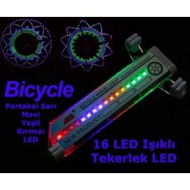 Sensörlü Bisiklet ve Motosiklet için 16 LED Flash Tekerlek Işığı