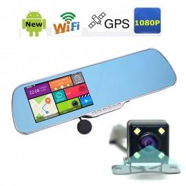 5.0 inch Full HD 1080P Android İşletim Sistemli Araç Dikiz Ayna DVR - GPS, Wifi, Arka Kamera, Gece Görüş Çift Kamera