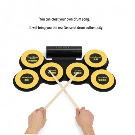 Elektronik Drum Davul Pad - 6 Drum Pad, 2 Ayak Pedalı, USB Bağlantı Noktası, Kulaklık Jakı, Taşınabilir Tasarım