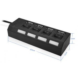 4 Portlu Usb Hub - PC bilgisayar için ayrı Açma / Kapama Anahtarı LED'li Usb Hub Splitter
