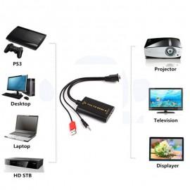 VGA to HDMI Dönüştürücü Adaptör - 1080P HD Ses AV Video 3.5mm + USB Kablo Converter Adaptör