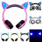 Kablolu Katlanabilir Kedi Kulak Kulaklığı - LED Işıklı Yanıp Sönen Müzik Kulaklık, 3.5mm Giriş, PC, Dizüstü, iPhone, Telefonlar için