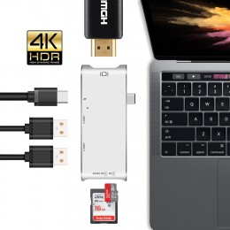Apple MacBook Pro için 6in1 USB Tip C Hub'dan HDMI Dönüştürücü Adaptör - Dock Dongle USB C Hub 3.0 Adaptör, MicroSD / SD Slot