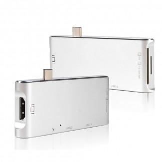 Apple MacBook Pro için 6in1 USB Tip C Hub'dan HDMI Dönüştürücü Adaptör - Dock Dongle USB C Hub 3.0 Adaptör, MicroSD / SD Slot