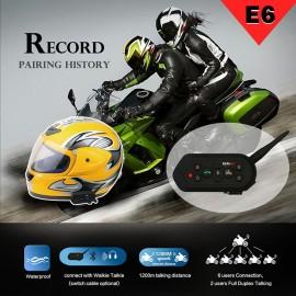 E6 Motosiklet Bluetooth Kulaklık - 1200M Konuşma Mesafesi, Full Çift Yönlü Hands-Free, Kask Kulaklık