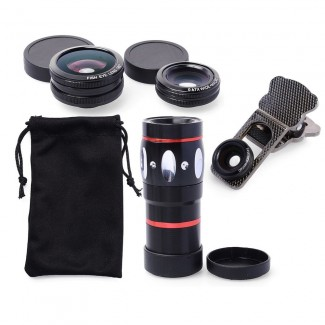 4 in 1 Optik 10X Zoom Lens Klipsli Teleskop Kamera - iPhone 6 / 6S / 6 Plus/ 6S Plus / iPad Mini Air / Samsung S6 / S7 / S7 edge / Akıllı Telefonlar, Tablet için