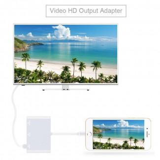 Apple iPhone / iPad / iPod için Girişi VGA + HDMI + Ses Dönüştürücü Aaptör - iPhone veya iPad VGA HDMI Dönüştürün