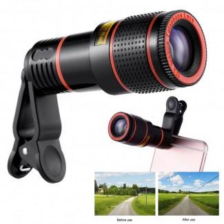 12X Zoom Cep Telefonu Lens Clip-on Teleskop Kamera -  iPhone 7 Plus 6S Plus Samsung S8 S7 Edge