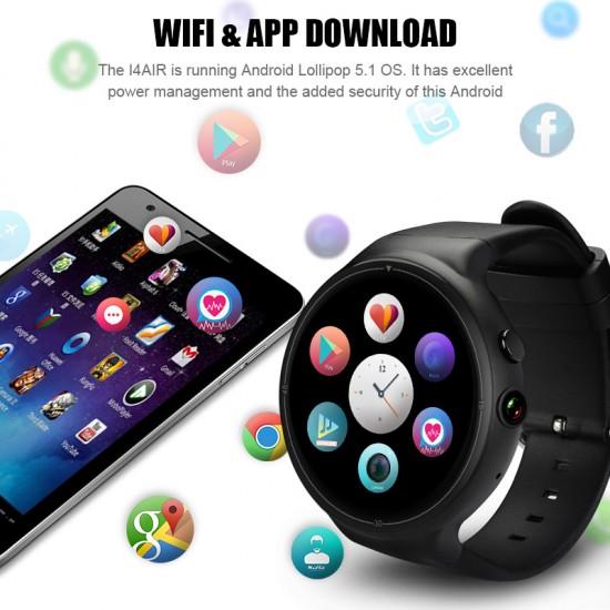 I4 Air 3G Android 5.1 Kol Saati Telefon - 5MP Kamera, 2GB RAM, 16GB Hafıza, SIM Kart, WiFi, GPS, Adım Sayar, Nabız Ölçer