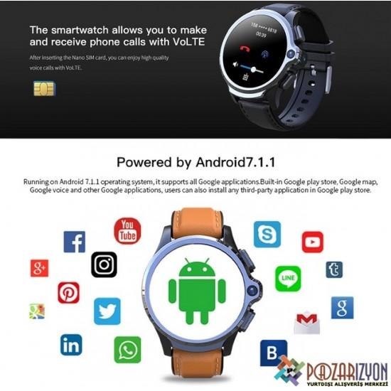 KOSPET Prime 4G LTE 1.6 Inch Akılı Kol Saati Telefon - 8.0MP Kamera, 3GB RAM + 32GB ROM, Yüz Algılama, 1260mAh Batarya