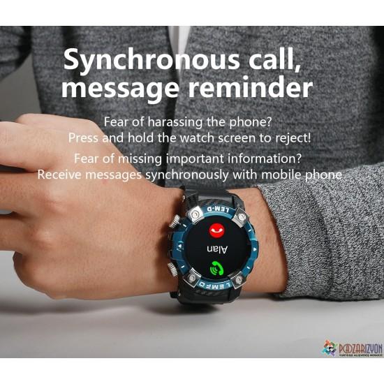 LEMFO LEMD Dahili Kablosuz Bluetooth 5.0 Kulaklıklı Akıllı Kol Saati - Android ve IOS Uyumlu