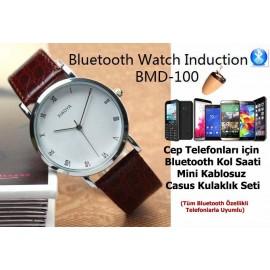 Cep Telefonları için Bluetooth Alıcılı Kol Saati + Mini Kablosuz Casus Kulaklık Seti - Spy Set, James Bond Tarzı