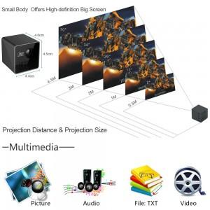 Ultra Mini Portatif DLP Projektör -  1080P HD, 70-inch Görüntü, 64GB TF Kart Destekli