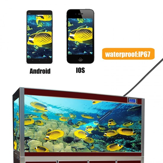 10 Metre 720p HD Wifi Wireless Kablosuz Endoskop Kamera - IP67 SUgeçirmez, 6x LED, 8mm Çap