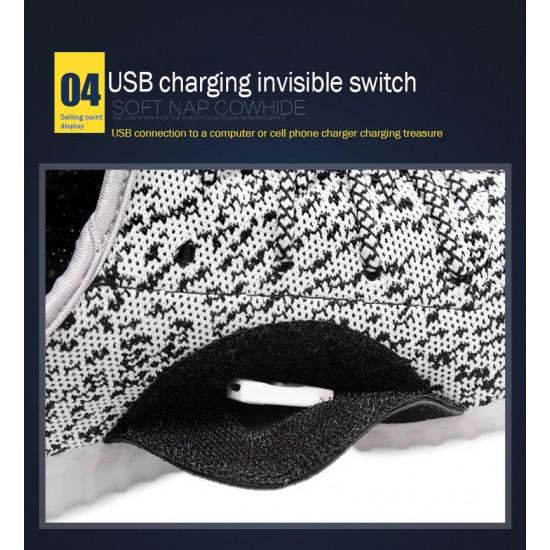 USB Şarjlı 7 Renk ColorMix LED Işıklı Fashion Unisex Spor Ayakkabı - Örgü Kumaş Desen, Konforlu