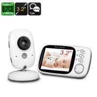 Wireless Kablosuz Bebek Monitörü - 3.2 Inch Ekran, Sıcaklık Monitör, Çift-Yollu Ses, Şarkı Çalma, 5MP Gece Görüş