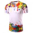 Sıçramış Boya Görünümlü Unisex Kısa Kollu 3D Tişört - Yuvarlak Boyun,  3D Baskılı T-Shirt