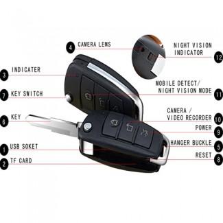 HD Mini Araba Anahtarlık DV Spy Gizli Kamera DVR - Hareket Algılama - IR gece Görüş - TF Kart - (1920 x 1080)
