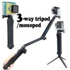 GoPro için 3-Yollu Selfi Kulp Monopod / Tripod / Kavrama - Taşınabilir 3in1 Tripod, GoPro Hero 5 / 4 / 3 + Sjcam Sj4000, sj5000, Xiaomi Uyumlu