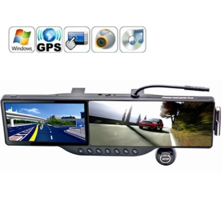 Bluetooth Kulaklıklı 5 Inch HD GPS Dokunmatik Ekran Dikiz Aynası ve 720P HD DVR Araç Kamera