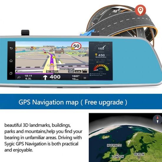 7 inch 3G Full-HD Dokunmatik Ekran Android 5.0 OS Navigasyon Arac Dikiz Ayna DVR - Dual Kamera, GPS, Bluetooth, Wifi, Geri Vites Kamera, SIM kart