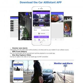 CRS 6.86 inch 3G Android OS 1080p Araç Dikiz Ayna DVR Kit - GPS, 1080p Ön Kamera, Geri Vites Kamera, Park Monitör, SIM Kart