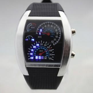 Spor Araba Hız Gösterge Şekilli LED Kol Saati - Parlak Beyaz ve Mavi Işık