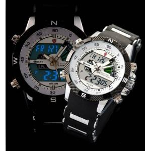 Orijinal SHARK Digital LCD Analog Çift Zamanlı Spor Kol Saati - SH041