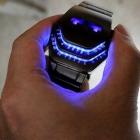 Fashion Unisex Çelik Yılan Kafası Mavi LED Kol Saati