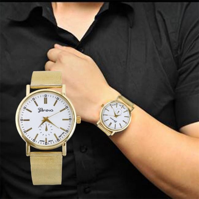Genevo - Unisex Klasik Gold Quartz Paslanmaz Çelik Kol Saati - Bay, Bayan