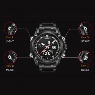 Naviforce Luxury Marka Dijital-Analog Sports Askeri 3ATM Su Geçirmez Erkek Quartz Kol Saati
