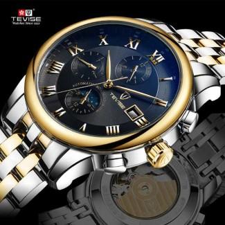 TEVISE Fashion Erkek Luxury Paslanmaz Çelik Mekanik Otomatik Business Kol Saati