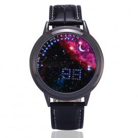 Dijital LED Dokunmatik Ekran Starry Moon Star Unisex Bayan Erkek Kol Saati