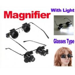 LED Işıklı - 20X Büyüteç Tamir Gözlüğü - Büyüteç Stili Tamir Gözlüğü
