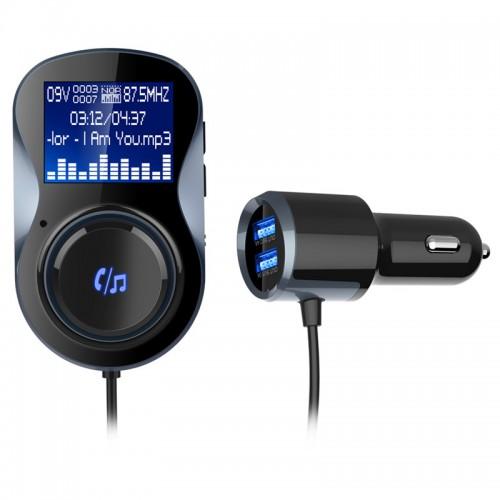 Araç Bluetooth Hand-free FM Transmitter MP3 Player - Çift USB Girişi, Voltaj Agılama, TF Kart Slotu, Araç Şarj