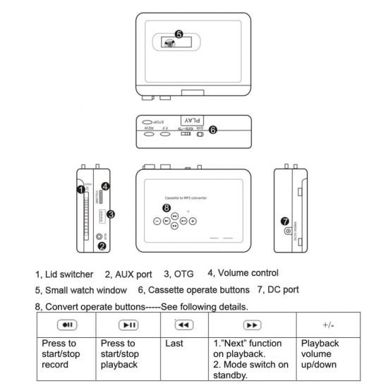 Kaset Teyp Player MP3 Dönüştürücü - USB Flash Diske Kaydet, WalkMan Tarzı, Eski Teyp Kasetlerini Mp3 Yap